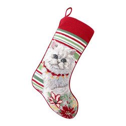 """Peking Handicraft - Persian Cat Needle Point Stocking - With its charming vintage design and intricate needle point quality, our adorable pet stockings are ready to fill with toys and treats for your best friends! This well made stocking features a plush velveteen color coordinated back and is meant to last for years! Indeed Decor will donate 20% of profits to animal rescue charities. Dry Clean Only. 11"""" x 18""""."""