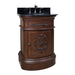 "Hardware Resources - 26"" Wide MDF Vanity  VAN031-T - This 26"" wide MDF vanity has timeless appeal with carved floral details, elegant curves and rich merlot finish. The compact size makes this vanity a perfect pedestal sink replacement. A large cabinet provides ample storage.  This vanity has a 2CM black granite top preassembled with an H8809WH (15"" x 12"") bowl, cut for 8"" faucet spread, and corresponding 2CM x 4"" tall backsplash.  Overall Measurements: 26"" x 21"" x 35-3/4"" (measurements taken from the widest point) Finish: Painted Merlot Material: MDF Style: Traditional Coordinating Mirror(s): MIR031 Bowl: H8809WH"