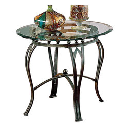 Steve Silver - Steve Silver Madrid 26 Inch Round End Table in Bronze - Sturdy construction and design details make this end table a must have. The Madrid end table is made of metal with a glass top. Wrapped in a powder paint finish, the table appears as a weathered pewter with a hint of green patina. Legs are in a curved with an X brace support. What's included: End Table (1).