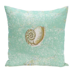e by design - Conch Shell Hemlock Green 16-Inch Cotton Decorative Pillow - - Decorate and personalize your home with coastal cotton pillows that embody color and style from e by design  - Fill Material: Synthetic down  - Closure: Concealed Zipper  - Care Instructions: Spot clean recommended  - Made in USA e by design - CPC-N1-Carcola-16