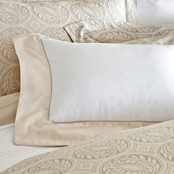 Soprano Cuff Boudoir Pillow - Linen - Serene, simple, and timeless, the Soprano Cuff Boudoir Pillow is an arresting pure white, giving a fresh look to your bedding arrangement, accented with a wide band of silver-grey to make the most of a sumptuously elegant accent pillow design. A thoughtful addition to a guest room and a luxurious detail for the master bedroom, this pillow's sham is made from 420-thread-count Egyptian cotton.