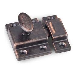 Hardware Resources - Jeffrey Alexander Cupboard Latch - Dark Brushed Antique Copper - - Length - 1.75 inch,Width - 1.75 inch,Height - 1 inch,Finish - Dark Brushed Antique Copper
