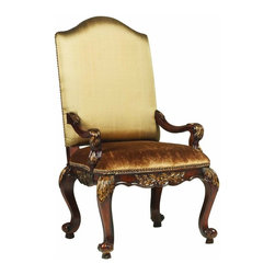 """Hooker Furniture - Beladora Upholstered Chair - Set of 2 - Arm - White glove, in-home delivery included!  Enrich your surroundings with the grand European elegance of Beladora.  The collection is dramatic and graciously scaled with maple and olive ash burl veneers accented by distinctive walnut inlays.  Beladora pays homage to costly Old World antiques and showcases it's exceptional design with a refined caramel finish with subtle gold tipping to accent the carving, chiseling and marquetry work, all done by the hands of skilled craftsmen.  Fabric back and seat.  Arm Height: 25 1/4"""" h  Distance between arms - max: 25"""" w  Distance between arms - min: 20 1/2"""" w  Seat Cushion: 24"""" w x 23 1/2"""" d x 4"""" h  Seat Height: 21"""" h"""