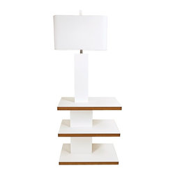 chic hand polished white lacquer floor lamp has three shelves attached. Black Bedroom Furniture Sets. Home Design Ideas