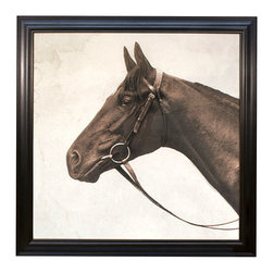 Lord Denver Aditoc Head - Framed Print - Four feet square to capture the drama of reality in the medium of photography, this magnified detail from a 1920s Royal Ascot horse photograph completes a neutral room with an air of calm majesty. Lord Denver, Aditoc Head renders a famous shot in the neutral palette of sepia tones that it would originally have expressed, framed in deep brown molded wood for an elite finish.