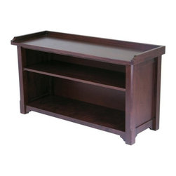 Winsome Trading, INC. - Verona Entryway Bench - Simple, sturdy, and sporting a rich Antique Walnut finish, Winsome Woods solid/composite-wood storage hall bench combines economical pricing with a versatile casual style. The oversized seat features low, raised sides and may be topped with a comfy cushion or left bare to show off the attractive grain. Below, two deep shelves stow anything from books and magazines to baskets full of hats and mittens. Simply designed with inset side panels, subtly carved legs, and curved accents, the bench has a rustic, inviting feel thats sure to warm up the decor. It measures 40 inches wide by 14.2 inches deep by 22 inches high. Assembly is required.