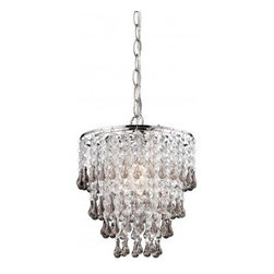 Sterling Industries Teak And Clear Crystal Pendant Lamp - 122-006 - Sterling Industries Teak And Clear Crystal Pendant Lamp - 122-006