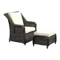 LexMod - Du Jour Outdoor Wicker Rattan Chair and Ottoman Set - Its going to be a great day topped with all your favorites. Du Jour is a freshly served chair and ottoman set that matches your sensibilities no matter what strikes your fancy. From the tufted lining on the intricately woven rattan, to the all-weather plush cushions, enjoy each moment with a piece that will last you many momentous occasions.