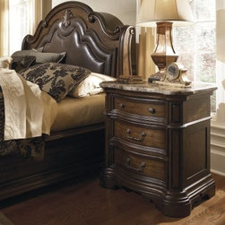 Courtland 3 Drawer Nightstand - Start your modern days with a little old-world opulence when you wake up next to the Courtland 3 Drawer Nightstand. Crafted with durable pecan veneers and select solids in a weathered pecan finish, this compact nightstand was designed with Tuscany's rich heritage in mind. The serpentine curved front is framed by carved moldings, and three storage drawers with antiqued pulls move on smooth ball-bearing guides. A thick curved, carved laminated marble slab forms the tabletop, which has plenty of room for an alarm clock, reading lamp, and other bedside necessities. About Pulaski FurnitureFounded in 1955 in Pulaski, Va., and taking the name of the town as its own, Pulaski Furniture was originally established as a maker of bedroom and dining room furniture. Recently celebrating its 50th anniversary, Pulaski Furniture is one of the top 40 furniture importers in the United States. Now a division of Home Meridian International, Pulaski Furniture Corporation continues to outperform with stylish and innovative product development, designing and building a broad selection of collectors cabinets, accent pieces, and bedroom and dining furniture for your lifestyle needs.