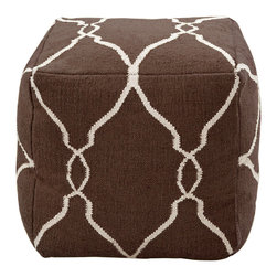 """Surya - Surya Fallon Ivory/Dark Chocolate Pouf - The square Surya Fallon pouf offers chic style and modern comfort. Fresh in ivory, the brown ottoman's geometric detailing surprises with eclectic panache. 18""""W x 18""""D x 18""""H; 100% wool"""