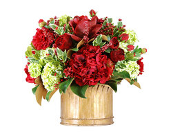 Winward Home - Rose and Holly Medley - Bring home a taste of Christmas spirit with a joyful bouquet of holiday roses, hydrangeas, holly berries nestled into a bed of holiday magnolia leaves.
