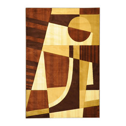 Ottomanson - Dark Brown Contemporary Abstract Design Rug - Moderno Collection offers a wide variety of machine made modern design hand-carved area rugs with high, durable, stain-resistant pile in trendy colors.