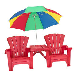 American Plastic Toys - American Plastic Toys Adirondack Set Multicolor - 13360 - Shop for Childrens Outdoor Furniture from Hayneedle.com! Bring bright and beach-ready lawn furniture to your backyard with American Plastic Toys' Adirondack Set Your children will love these comfy Adirondack chairs featuring the same deeply angled seats and wide armrests as their adult counterparts. They can be used individually or adjoined with the including connector table. The multicolor 38-inch umbrella completes the photo op sweetness of this set providing ample shade for both tots and affixing safely and securely to the connector table. The umbrella is also finished with protective end caps and a storage strap. This set is intended for use for children ages 2-5 years with each seat having a weight limit of 42 lbs. Proudly made in the USA under stringent safety guidelines you can rest assured that this set will last for many summers of fun. About American Plastic ToysSince 1962 American Plastic Toys has proudly manufactured safe toys in the United States. The company's product line includes more than 125 different items ranging from sand pails and sleds to wagons and play kitchens. American Plastic Toys assembles every one of the toys in its product line in the United States. Most of the components in American Plastic Toys products are molded in the company's own plants or purchased from U.S. companies. Toys with imported components (mostly sound components and fasteners - no painted components) represent only 25 percent of the entire product line. Every American Plastic Toys product is tested by at least one independent U.S. safety-testing lab to ensure that it complies with applicable safety standards.