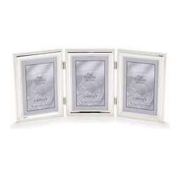 Lawrence Frames - 4x6 Hinged Triple (Vertical) Metal Picture Frame Silver - A classic silver plated frame with delicate caviar beading around the inside and outside edges.  A hinged triple frame is a great way to display multiple photos.  This silver plated and lacquer coated frame has a rich and lustrous silver finish.  High quality navy blue velvet backing comes with hangers for wall mounting.    Heavy weight 4x6 hinged triple metal picture frame is made with exceptional workmanship and comes individually boxed.