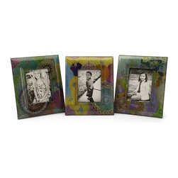 """IMAX CORPORATION - Playful Paisley Photo Frames 5 x 7"""" - Set of 3 - Set of three picture frames each with a distinct paisley design and colors. Comes in various sizes measuring around 26""""L x 14.75""""W x 14""""H each. Shop home furnishings, decor, and accessories from Posh Urban Furnishings. Beautiful, stylish furniture and decor that will brighten your home instantly. Shop modern, traditional, vintage, and world designs."""