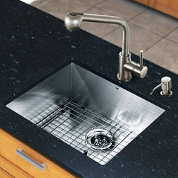 """Vigo - All in One 23"""" Undermount Stainless Steel Kitchen Sink and Faucet Set - Add elegance and style to your kitchen with a VIGO All in One Kitchen Set featuring a 23"""" Undermount kitchen sink, faucet, soap dispenser, matching bottom grid and sink strainer.; This single bowl sink is manufactured with 16 gauge premium 304 Series stainless steel construction with commercial grade premium scratch resistant satin finish; Fully undercoated and padded with a unique multi layer sound eliminating technology, which also prevents condensation.; All VIGO kitchen sinks are warranted against rust; Distinctive angular zero radius corner design with rear standard 3 1/2"""" drain placement; Exterior dimensions: 23""""W x 20""""D; Interior dimensions: 21""""W x 18"""" D; Depth: 9 7/8""""; Required interior cabinet space: 25""""; All mounting hardware and cutout template provided for 1/8"""" reveal or flush installation; Sink model: VG2320C; Faucet features a dual function pull-out spray head for aerated flow or powerful spray, and is made of solid brass with a stainless steel finish.; Includes a spray face that resists mineral buildup and is easy-to-clean; High-quality ceramic disc cartridge; Retractable 360-degree swivel spout expandable up to 30""""; Single lever water and temperature control; All mounting hardware and hot/cold waterlines are included; Water pressure tested for industry standard, 2.2 GPM Flow Rate; Standard US plumbing 3/8"""" connections; Faucet height: 13''; Spout reach: 8''; Kitchen sink and faucet are cUPC and NSF-61 certified by IAPMO; Faucet is ADA Compliant; 2-hole installation with soap dispenser; Faucet model: VG02019ST; Soap dispenser is solid brass with an elegant stainless steel finish and fits 1 1/2"""" opening with a 3 1/2"""" spout projection.; Matching bottom grid is chrome-plated stainless steel with vinyl feet and protective bumpers.; Sink strainer is made of durable solid brass in chrome finish; Limited lifetime warranty; Dimensions: 13.5""""H x 25.25""""W x 23.75""""D"""