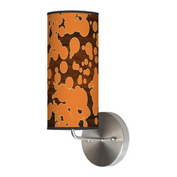"""jefdesigns - Fizzy 2 Wall Sconce - Who says lamps need to be stuffy and pretentious? This delightful light says """"phooey"""" to all that, and is simply loving life on your wall. The bubbly pattern really pops against the grounding wood-grain backdrop, creating an overall effect that will make you smile."""