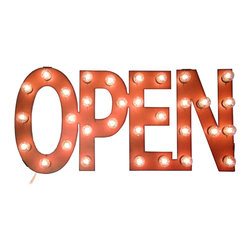 Open Up! Marquee - Get excited to start the day with this cheerful light-up sign. Old-fashioned marquee-style letters brighten up the room, giving a chic and happy vibe anywhere.
