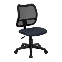 Flash Furniture - Flash Furniture Mid Back Mesh Task Chair with Navy Blue Fabric Seat - Flash Furniture - Office Chairs - WLA277NVYGG - If you're in need of a comfortable chair with a breathable mesh back this is the chair. The modern design of the back will add a contemporary look to your office space. This chair is height adjustable to adapt to your working environment. [WL-A277-NVY-GG]