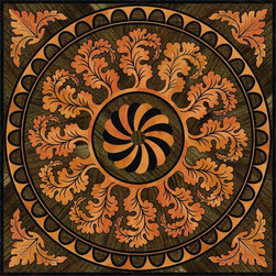 Wood Floor Medallion - Wood floor medallion. Made using Pear, Walnut and Wenge wood with engraved fine details. Available in different sizes.