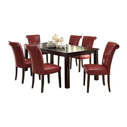 Monarch Specialties - Monarch Specialties 7 Piece 78x40 Dining Room Set in Dark Espresso, Burgundy - This dining table offers rich design and transitional styling that invites a relaxed setting into your home. Finished in a dark espresso, this clean lined rectangular shaped dining table will create the perfect look for intimate dinners or casual get togethers. This piece features thick block legs and an extension leaf to accommodate all your friends. What's included: Dining Table (1), Side Chair (6).