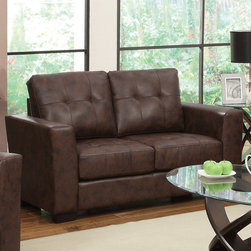 Coaster - Enright Loveseat, Brown - Stylish and functional. Our Enright collection is available in black, brown and white Bonded Leather Match G��_��_ neutral colors making it easy to match any decor with. You and your guests can enjoy plush and comfortable seating on top of fiber filled back cushions. Tufted seats and back, straight arms and a simple design will give your living room a contemporary look.