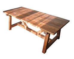 Trestle Farmhouse Table, Reclaimed Wood, Farmhouse Dining Table - A rustic yet classic design trestle dining table. This table is built entirely of reclaimed wood.