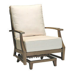 """Frontgate - Croquet Spring Outdoor Lounge Chair with Cushions, Patio Furniture - French Linen, Mahogany or Weathered finishes offer the appearance of fine wood. Features a smooth rocking motion. Generously proportioned durable aluminum frame accommodates plush outdoor cushions. Included Dream cushion's high density foam fill is crowned with a """"pillowtop"""" of blown fiber. Cushions feature exclusive solution-dyed fabrics, created using only the finest materials and technology for longevity outdoors, including Sunbrella&reg. The Croquet Spring Lounge Chair by Summer Classics&reg is the perfect embodiment of the lawn game made popular by 19th century European gentry. Frame is hand-welded in durable aluminum and finished to resemble fine wood. Luxurious Dream cushions enhance the experience of relaxing in this generously proportioned, all-weather furniture. . . . . . Slatted aluminum seat back. Note: Due to the custom-made nature of the cushions, any fabric changes or cancellations made to the Croquet Collection must be made within 24 hours of ordering."""