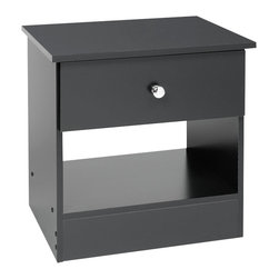 Prepac Furniture - Prepac Edenvale Black 1 Drawer Night Stand - The practical and function-before-flair designation of the Edenvale Black 1 Drawer Night Stand - Prepac Furniture, with its clean lines and classic shape, will blend perfectly into almost any decor and provide for your bedside needs more than adequately. It features a rich black finish, chrome finished plastic knob and a deep bottom drawer and open compartment to appeal to both your style and budget consciences.