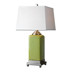 Uttermost - Piven Green Table Lamp - Crackled chartreuse ceramic accented with brushed nickel plated details. The slightly tapered square hardback shade is an ivory linen fabric.