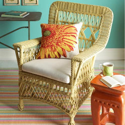 Loggia Chair - This American classic wicker chair looks like it came straight from Gray Gardens, the historical fiction version where Drew Barrymore is young and the house is a showplace. Get the look of vintage wicker without all of that pesky peeling paint and broken twigs that poke you in the butt.