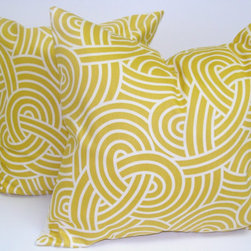 Yellow Decorator Pillow Covers By ElemenOPillows - Pillow covers are everywhere and such an easy fix for any room. These are a yellow/citrine swirl that would make any sofa, chair or bed look outstanding!