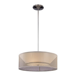 George Kovacs - Bridge 3-Light Pendant - This pendant lamp reveals a whole new way to light your home. The translucent silk outer shade reveals the chrome wire structure beneath, in a drum-shaped lamp certain to make your contemporary living room shine.