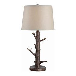 Kenroy Home - Kenroy Home Jeweler Bronzed Table Lamp - This chic rustic tree lamp doubles as a jewelry holder! A wonderfully detailed jewelry tree with branches providing hangers for necklaces and a concaved base to hold your smaller items like earrings. Kenroy Home is classic with lighting designs that remain timeless and elegant. Their designers take special care to develop application specific lighting with amazing style. Kenroy Home is high style with the most fashion forward and trend setting pendants and ceiling fixtures in the design world. From warm chandeliers over the dining room table to soft and cozy lamps in the family room… Kenroy Home is helping to shine a light on what really matters. Specifications Bulb Info: 1-150 Watt 3-Way Bulb; 3-Way Socket Switch Shade Info: 14 Inch Diameter Cream Tapered Drum Shade Material: Resin Finish: Bronzed.