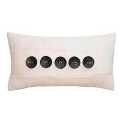 Squarefeathers - Black & White, 5 Button Pillow - Black and White, Yin and Yang. The Black and White pillow collection will bring balance to your home decor. Made of faux linen with a knife edge trim. It has a soft and pump feataher/down insert inclosed with a zipper. Like all of our products, this pillow is handmade, made to order exclusively in our studio right here in the USA.