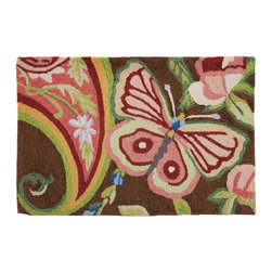 Homefires - Paisley Butterfly Rug - Bring a positive change as profound as the transformation from caterpillar to butterfly into your home with a colorful, wool-like, washable rug. The whimsical design will remind you that no matter what, there's always something to hope for in the future.