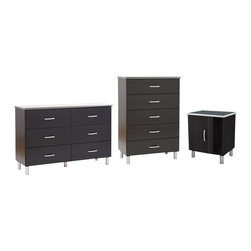 South Shore - South Shore Cosmos Dresser  Chest and Nightstand Set in Black Onyx/Charcoal - South Shore - Dressers - 31270273PKG - South Shore Cosmos Dresser Chest and Nightstand Set in Black Onyx/Charcoal