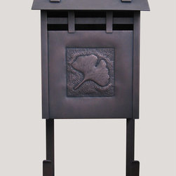 Waterglass Studios Arts and Crafts Mailbox With Ginkgo Leaf - Waterglass Studios 9D Handmade Vertical Wall Mounted Arts & Crafts Hammered Antique Copper Mailbox with Ginkgo Leaf Design.  Available from http://www.mailboxixchange.com for $356.76 with free shipping.