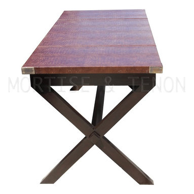 Bourbon Desk - Desk Top: Faux Croc w/Top stitch