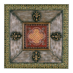 Welcome Home Accents - Fleur Metal Wall Art - Stylized metal wall art features Fleur De Lis in antique gold with quatrefoil flower in center. Trimmed in Verde with blackened silver and burgundy. This magnificent square piece has both a European and Middle Eastern feel to it. Detailed design and constructed of strong metal makes a great accent piece for any home and any room. Hook on back for easy hanging. Dust with a dry cloth.