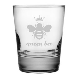 Susquehanna Glass - Queen Bee Double Old Fashioned Glass, 13.25oz, S/4 - Each 13.25 ounce tumbler is sand etched with a bee-themed design. Dishwasher safe. Sold as a set of four. Made and decorated in the USA.