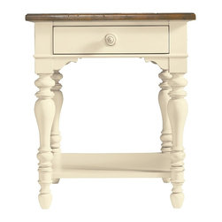Stanley Furniture - Coastal Living Cottage Lamp Table (Shell) - Finish: Shell. Top has Boardwalk finish. One drawer. One stationary shelf. Made from maple and select hardwood solids, maple veneer, simulated wood components. Assembly required. 24 in. W x 26.5 in. D x 28 in. H (67 lbs.)