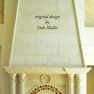 12.10  Moorish Fireplace/ Fluted Pilaster Columns/ Overmantel + Moroccan Tile -