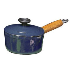 """Paderno World Cuisine - Chasseur 7 1/8 Inch Enamel Cast-Iron Sauce Pan With Wooden Handle, Blue - This product has a beautiful wooden handle that stays cool even under the highest of temperatures. It has a small spout on the lip for easy pouring. The milk pan does not come with a lid.; with small spout fer easy pouring; has stay cool wooden handle; retains and distributes heat evenly; enameled twice for added durability; Made in France; Weight: 5.9 lbs; Dimensions: 3.5""""H x 14.0""""L x 7.0""""W"""