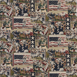 Pro Football American Flags Themed Tapestry Upholstery Fabric By The Yard - P1310 is an upholstery grade tapestry novelty fabric. This fabric is excellent for cabins, lodges, homes and commercial uses.