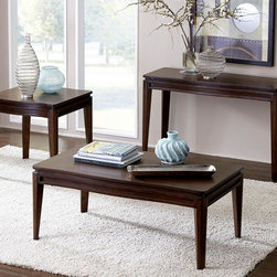 Homelegance - Homelegance Kasler 3 Piece Rectangular Coffee Table Set in Medium Walnut - Understated elegance flows effortlessly through the gentle curves of the Kasler Collection. The medium walnut finish on walnut veneers is the first break with contemporary tradition that this unexpected gem makes. Further enhancing the look of the occasional group are the curves that stand out as bold statements to the profile of each tabletop. - 2135-30-3-SET.  Product features: Walnut veneers; Rectangular Table Top Shape; Medium Walnut Finish. Product includes: Cocktail Table (1); End Table (1); Sofa Table (1). 3 Piece Rectangular Coffee Table Set in Medium Walnut belongs to Kasler Collection by Homelegance.