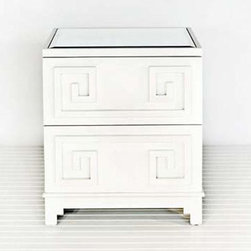 Worlds Away Oriental Nightstand In White Lacquer - A bit of Greek Key, plenty of storage, and a glamorous mirrored top. This nightstand is my dream, and will give you sweet ones.