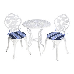 None - Bistro Outdoor Blue Stripe Round Chair Cushions (Set of 2) - Add a finishing touch to your bistro set with these blue stripe round chair cushions. This set includes two cushions that are filled with a polyester fiber batting and upholstered with polyester fabric for durable and long-lasting outdoor use.