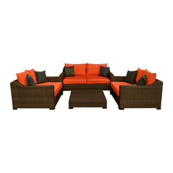 Amazonia - Oxford Garden 4 Pc Sofa Set with Orange Cushions - Set includes Table, Sofa, and 2 Arm Chairs. Aluminum and Synthetic Wicker frame. Dark Brown Wicker. Orange Cushion. Free feron gard vinyl preservative for longest strap durability. It works great against the effects of air pollution salt air, and mildew growth. For best protection, perform this maintenance every season or as often as desired. Great functionality. Cushions are included. Water Repellent Polyester Cushions. Some assembly required. Warranty: 1 year. Sofa: 74 in. W x 43 in. D x 27 in. H. Arm Chair: 51 in. W x 43 in. D x 27 in. H. Table: 39 in. W x 39 in. D x 9 in. HGreat quality, stylish design patio sets, made of aluminum and synthetic wicker. Polyester cushion with water repellant treatment. Enjoy your patio with elegance all year round with the wonderful Atlantic outdoor collection.