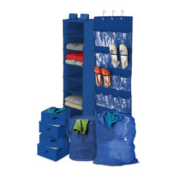 Honey Can DO - Back To School Closet Kit, 8-Piece, Blue - Our Back to School 8-Piece Closet & Laundry Organizing Kit is the perfect mix for all your dorm organizational needs. The set includes an Over the Door Shoe Organizer that holds up to 12-pairs of shoes, an 8-Shelf Hanging Closet Organizer, perfect for sweaters and tee-shirts, a Pop-Up Hamper, Mesh Laundry Bag and 4 Storage Drawers that can be used with the 8-shelf organizer or individually. Color: Blue.